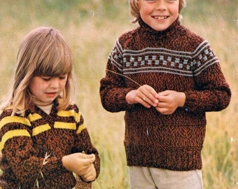 Tartan Vintage 1970s Family Knitting Patterns in 8ply or Worsted 13 patterns