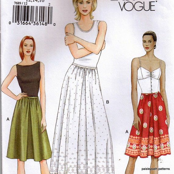 Very Easy Skirt and Slip for Women Sewing pattern Medium 3 sizes Vogue 7689