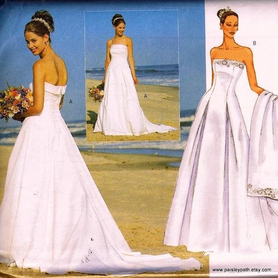 Strapless bridal gown sewing pattern butterick 6925 medium for Butterick wedding dress patterns