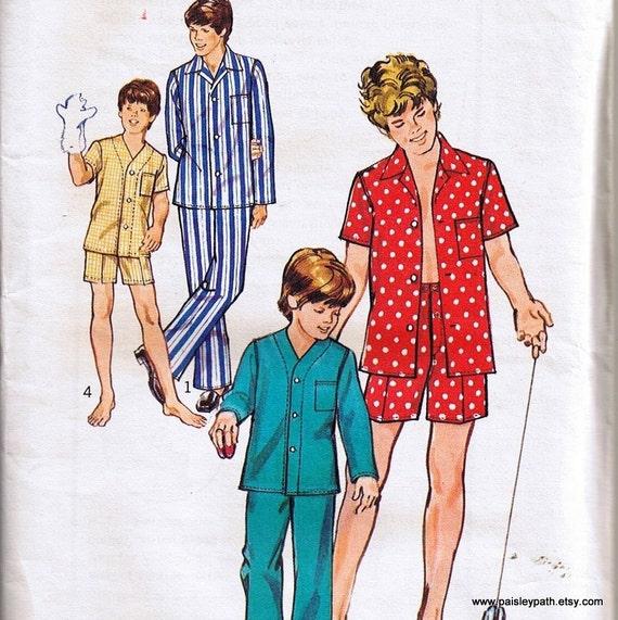 Vintage 70s Boys Pajamas Sewing Pattern Size 8 simplicity 6076