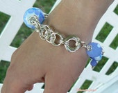 Periwinkle Blue - Lampwork and Blue Chalcedony bracelet