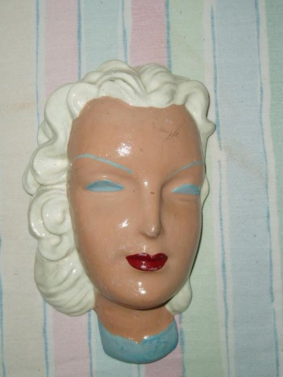 JUST REDUCED Chalkware 20's/30's Flapper Bust Wall Hanging