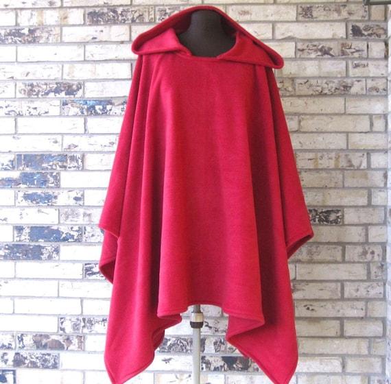 Fleece Poncho with Large Roomy Hood