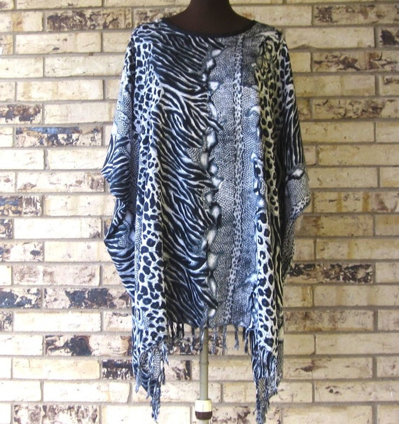 Plus Size Animal Print Rayon Tunic