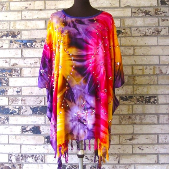 Plus Size Tie Dye Sequined Rayon Tunic