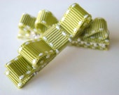 For CORA PAIGE Green and White Hair Clips Set