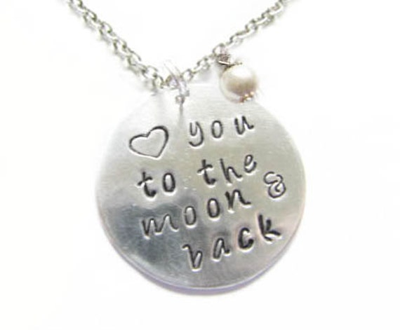 Love you to the moon & back Necklace, Hand Stamped Necklace