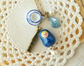 """Matryoshka babushka necklace """"Tea time in London"""" polymer clay, in blue and white, vintage retro style"""