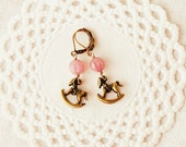 "Romantic vintage style earrings ""Adventures on a rocking horse"" in dusty pink and brass"