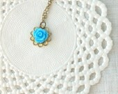 """Kids flower necklace """"La petite rose"""" in sky blue and brass, girl children jewelry"""