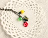 "Watering can botanic necklace ""Gardening"" yellow, green, coral pink, english garden, summer"