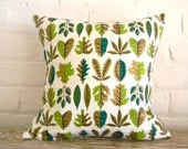 mid century modern leaves in gold and greens pillow cover 14x14