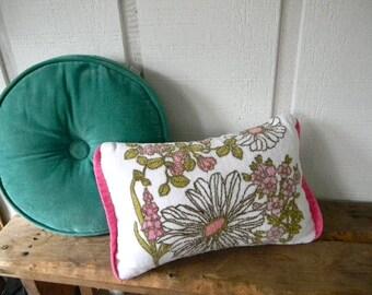 vintage mod floral velvet towel pillow cover 12x16