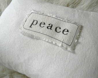 peace merry christmas holiday home decor white linen pillow cushion letter stamp