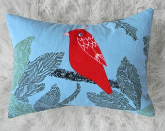 little red bird on blue pillow cover 12x16