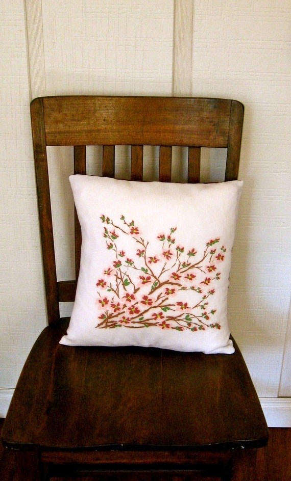 vintage cherry blossom pillow cover