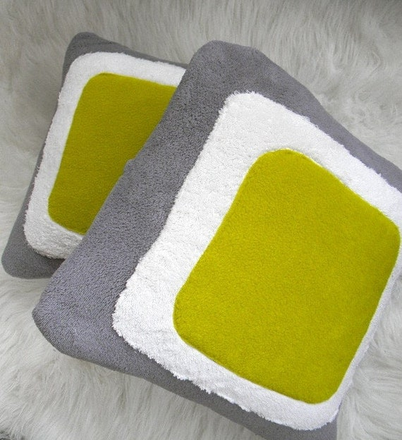 color block  pillow cover 16x16 chartreuse green