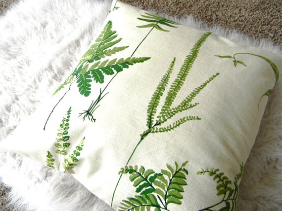 ferns in green pillow cover