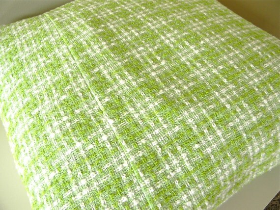 happy green plaid pillow cover 16x16
