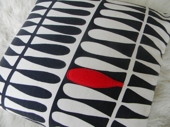 modern black white and touch of red pillow cover