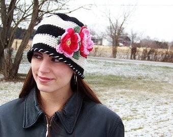 Boutique Custom Crochet Striped Cloche Floral Hat