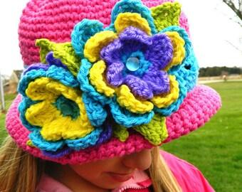 Boutique Custom Crochet Whimsy Fun Floral Cloche