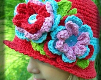 Boutique Custom Crochet  Euro Flower Garden Cloche Hat