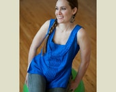Silk Top, Womens Tank, Royal Blue, OOAK Womens Fashion, Couture Clothing, Rosalba Valentino Couture,  Ocean Inspired Clothing, Slow Fashion