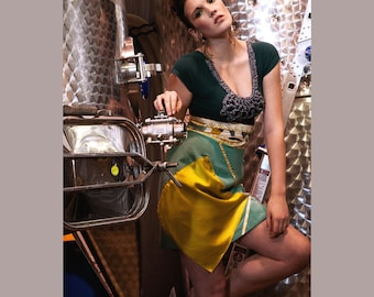 Silk Restyled Skirt, Asymmetrical, Vintage Silk, Teal, Chartreuse, One of a Kind, High-Waisted Skirt, Rosalba Valentino Couture, Retro Mo