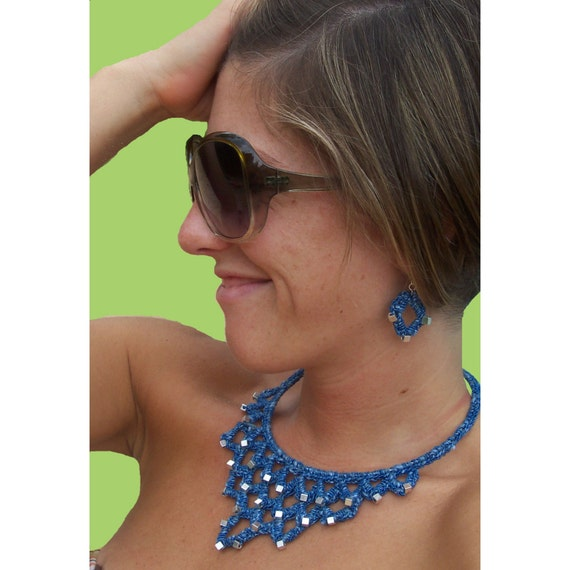 Necklace, Crochet, Jewelry, Fiber Jewelry, Bohemian, OOAK, Torque, Beaded, Blue,  Rosalba Valentino Couture,