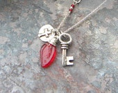 Trio Charm NECKLACE, tiny ORGANIC sterling silver Skeleton Key, double sided Cross charm, and red Czech glass leaf on silver rolo chain