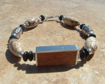 MENS chunky Wood, Turquoise, and Bali Silver BRACELET