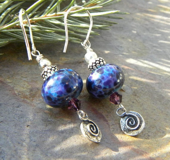 Luscious Blackberry Lampwork and sterling silver Cross and Swirl charm EARRINGS
