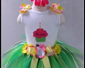 Hawaiian Luau Birthday Tutu Set Custom Made 1st Birthday or Party Sizes 12mo-4yrs Photo Prop