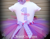 Baby Girl 1st Birthday Outfit - Birthday Tutu - Purple and pink - Party Dress
