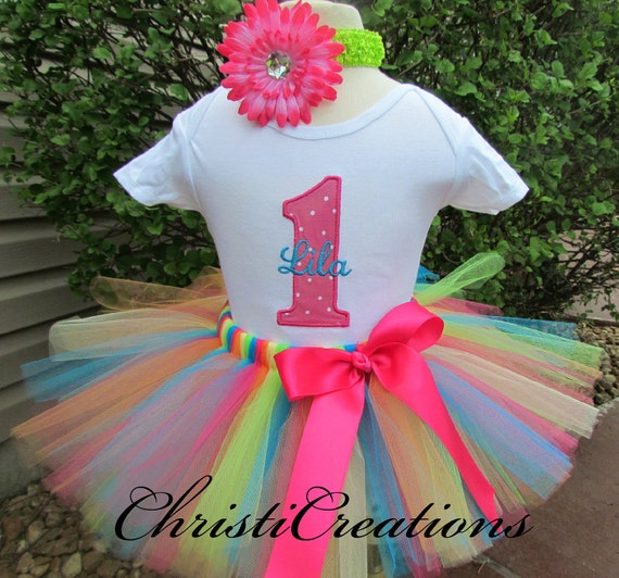 Baby Girl 1st Birthday Tutu Outfit - Cake Smash Photo Prop - Baby Girl ...