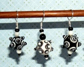 Funky Black and White Bumby Ball Stitch Markers