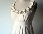 Ivory or White Pleated Collar Dress
