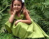 Flower Girl Ruffle Collar Dress, Green Apple, made to order