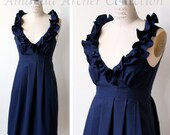 RESERVED for BRI navy midnight cotton bridesmaid dress 7/21