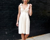 RESERVED for LAURA Beige cotton Bridesmaid Dress, NO Buttons 9/22