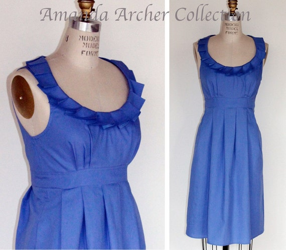 RESERVED FOR CHRISTY 3 bridesmaid cornflower blue cotton dresses, 1 flower girl sash, 5/14