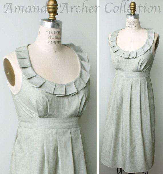 Bridesmaid Dress with pockets, light sage cotton