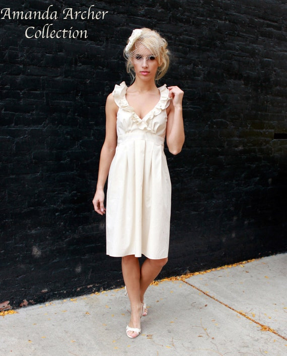 RESERVED for BRITTANY Beige cotton Bridesmaid Dress, NO Buttons 9/22