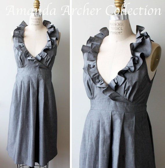 RESERVED for SLOAN custom order Charcoal gray with ivory v-neck ruffles bridesmaid dress 10/6