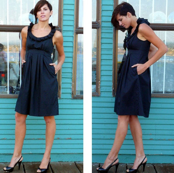 RESERVED for ALLIE midnight navy cotton pleated collar bridesmaid dress 10/12