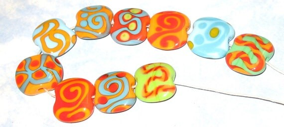 TikiBeads Ten Bright Hot Salsa Pizzazz Lampwork Beads SRA