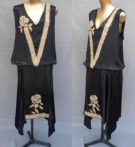 SALE -- sale -- Vintage 20s Flapper Black Silk Peau de Soie Slipper Satin Drop Waist Dress Embellished with Embroidery, Faux Pearls and Hand Beading - Size L to XL