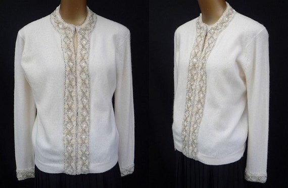 Vintage 50s 60s Off White Cashmere Cardigan Sweater Embellished with Hand Beaded Faux Pearls and Crystal and Silver Beads -- Made in Hong Kong -- Size M to L