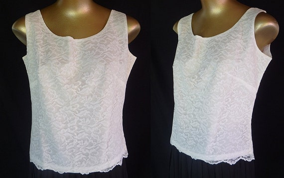 Vintage 50s Blouse Top Sleeveless White Lace Overlay 1950s Bridal - Gorgeous - Size M - sale